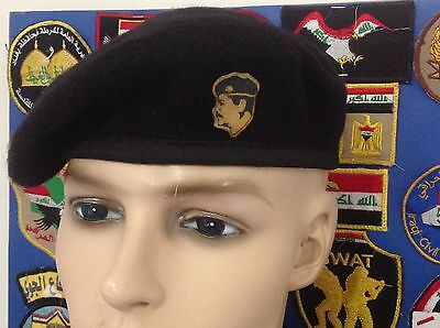 Iraq/ Fedyeen Saddam Officer Black Beret With Pin.,Extremely Rare.فيدائو صدام