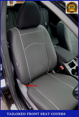 Black Eco-Leather Tailored Front Seat Covers Nissan Qashqai II 2013 - onwards