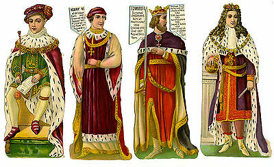 "c1890 VICTORIAN DIE-CUT ALBUM SCRAPS ~ KINGS of ENGLAND x4 ~ 6"" FIGURES HENRY VI"
