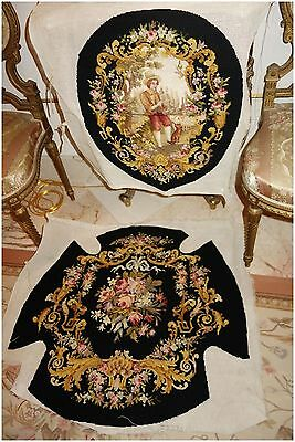 #2 GORGEOUS FRENCH ANTIQUE NEEDLEPOINT 2 PC w/dog for CHAIR, PILLOWS, STOOL WALL