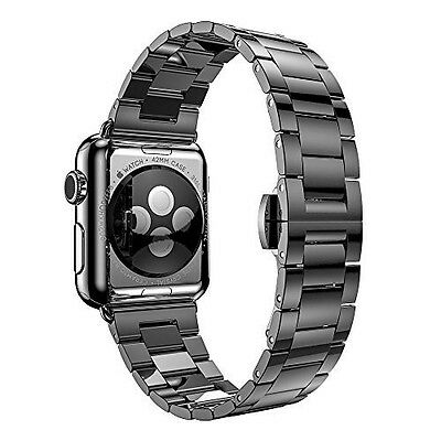Apple Watch Strap 42mm Stainless Steel Band Metal Replacement Series 2 & 1-Black