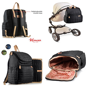 Baby Backpack Diaper Bag Black for Women Men With Newborn Infant Changing Pad