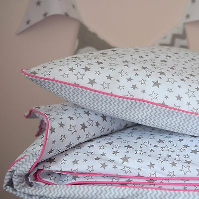 100%COTTON Cot Bedding Duvet Cover Set Grey White Stars  Chevron pink  Girls s
