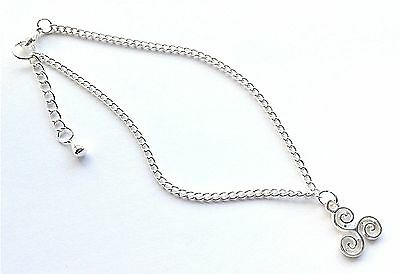 Silver Curb Chain With Celtic Triskelion Charm Dangle Anklet / Ankle Bracelet