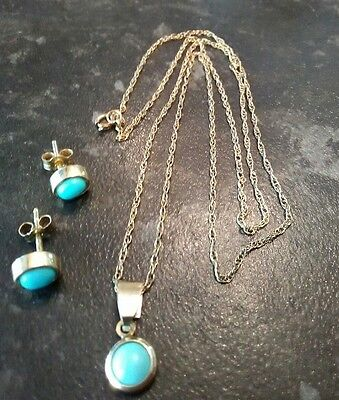 14ct gold turquoise pendant and earring set with chain.