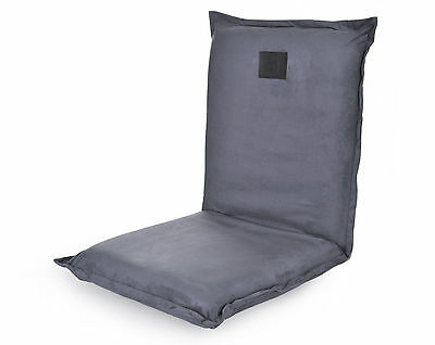 Omlove Grey Suede Yoga Meditation Floor Chair Padded Lower back Support Satsang