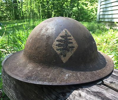 """Original WWI US 26th """"Yankee"""" Division 103rd Infantry New England Painted Helmet"""
