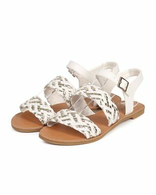 1563be3032002d New Women Qupid Athena-945 Leatherette Open Toe Woven Ankle Strap Sandal  Size