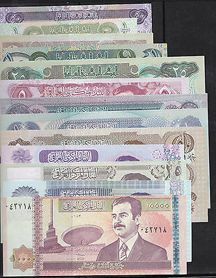 Set of 13 different Gulf War Uncirculated  IRAQ banknotes -  Saddam Hussein