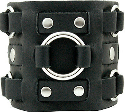 Handmade Black 3 Strap Wristband - W/ Rings - Genuine Leather - Made USA -Bk3303
