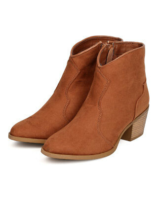 3f536f9451b NEW WOMEN QUPID Rover-15 Faux Suede Pointy Toe Cowboy Bootie ...