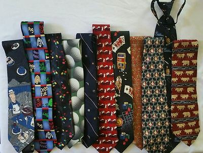 Lot of 11 Novelty Mens Neckties Golf Gambling Cookout Easter Police Stock Market