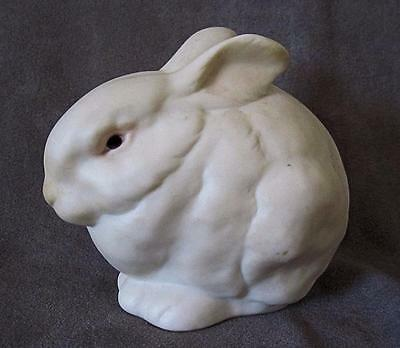 Vintage 70s' CYBIS White Bunny RABBIT Porcelain Figurine Pink Eyes Mr. Snowball