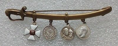 Set of 4  WW1 Russian White Guard Army Civil War pin badges 2nd  type