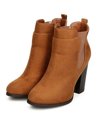 76a5509300a1 New Women Nature Breeze Ace-01 Faux Suede Chelsea Chunky Heel Bootie