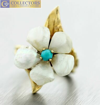 Ladies Estate 14K Yellow Gold 0.08ct Turquoise Baroque Pearl Ring