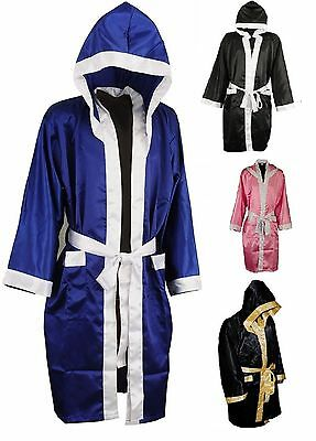 Maxx MEN HOODED SATIN BOXING ROBE MUAY THAI BOXING KICK BOXING MMA UFC BOXING BG