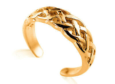 10K Solid Yellow GOLD Celtic Braid Toe Ring