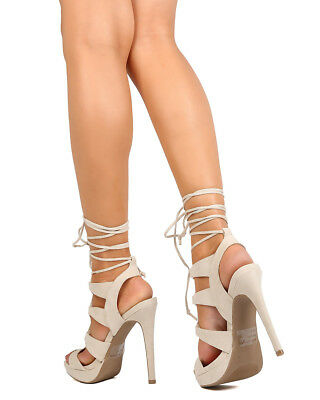 71bd6a2567e7 New Women Wild Diva Madden11 Faux Suede Strappy Lace Up Platform Stiletto  Sandal