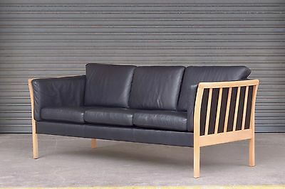 Vintage Danish three seater 3 person leather sofa with beech frame