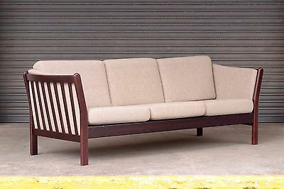 Vintage Danish 3 seat three person sofa in cream wool with dark wooden frame