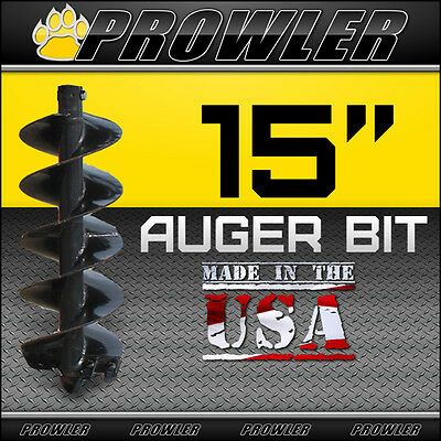"""15"""" Auger Bit w/ Round Collar For Skid Steer Loaders 4' Length  (15 Inch)"""