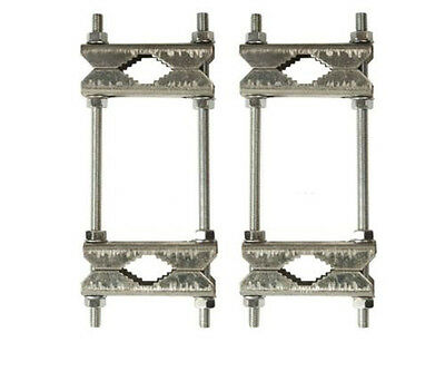 2 x Double Brackets SAT Mast Clamp Dental Clamp up to 60 MM Galvanized