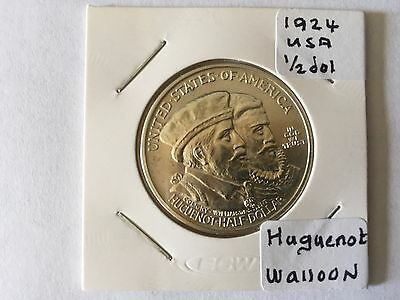 1924 Huguenot Walloon Half Dollar  Lovely Piece