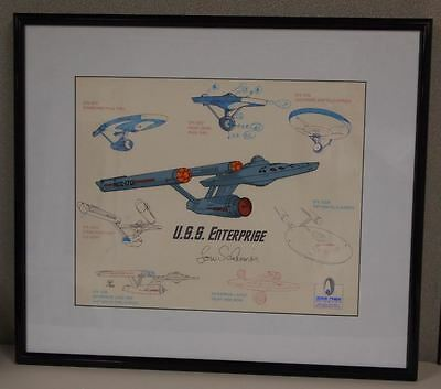 STAR TREK USS Enterprise Model Sheet Cel Signed Lou Scheimer Ship NCC-1701 Star