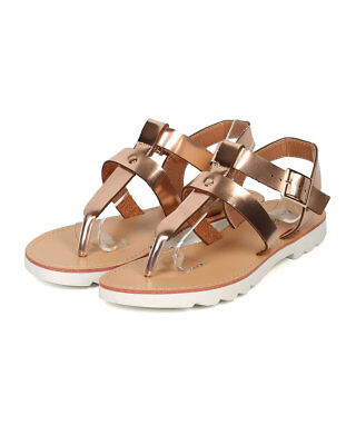f2d2eaf87b1553 New Women Qupid Clark-01 Metallic Leatherette T-Strap Lug Sole Sandal