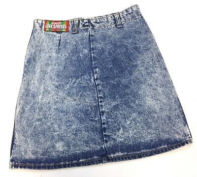 Vintage Life Savers Acid Wash Jean Skirt 80's 90's Women's Waist Sz 28 E16
