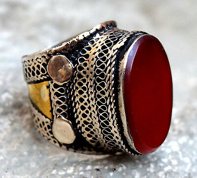 Carnelian Stone Turkmen Tribal Kuchi Tower Ring Afghan Jewelry Ethnic Gypsy Boho