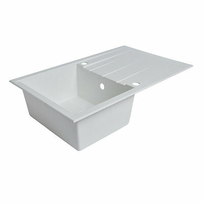 Composite Kitchen Sink & Drainer White 1-Bowl Reversible 800 X 500Mm (7567K)