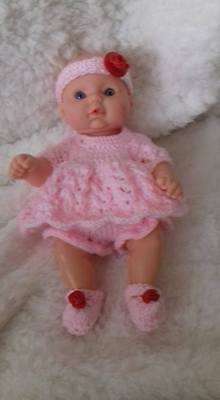 Dolls clothes,  Hand Knitted Pink Dress Set to fit 8-10 inch Berenguer doll