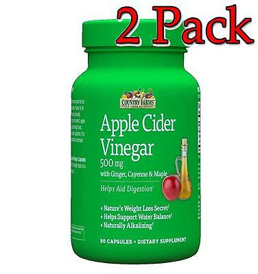 Country Farms Apple Cider Vinegar Caps, 500mg, 90ct, 2 Pack 035046098780A599