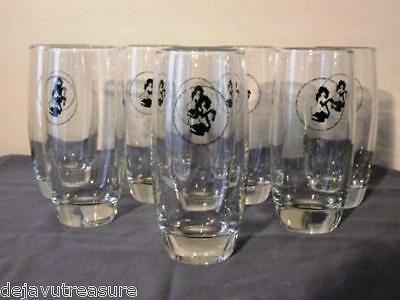 FEMLIN ~HIGHBALL GLASS SET 8pc COMPLETE~ Vintage PLAYBOY CLUB Branded - 1960's
