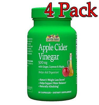 Country Farms Apple Cider Vinegar Caps, 500mg, 90ct, 4 Pack 035046098780A599