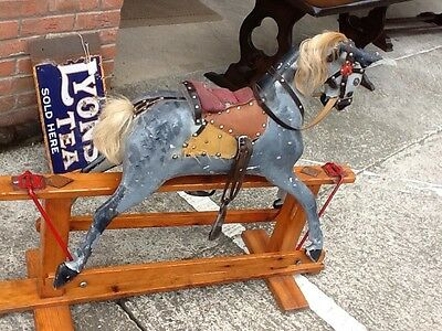 antique vintage hand made rocking horse Collinsons Of Liverpool