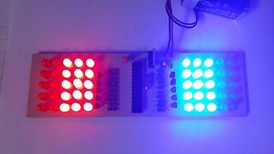 Police lights assembled PCB, strobe, flash, 9V battery powered, 50 LEDs diffused