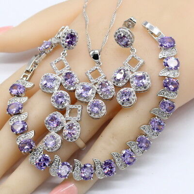 Flower Purple Amethyst and White TOPAZ 925 Silver Necklace Earrings Ring Set
