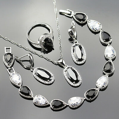 Hot BLACK and WHITE SAPPHIRE 925 Silver Necklace Earrings Bracelet Ring Set