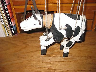 """Vintage Solid Wood Marionette  Puppet Cow  6"""" Tall , 8"""" Long"""
