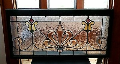 "Rare Antique Beveled Jeweled Stained Glass Transom Window 19"" by 38"""