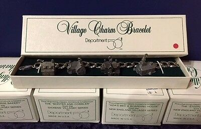 Sterling Silver Dept. 56 Dickens & New England Village Charms 53g Bracelet Rare