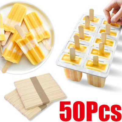 50Pcs Pack Wooden Plain Ice Lolly Cream Lollipop Popsicle Kids Art Sticks Home