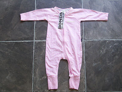 BNWT Baby Girl's Bonds Pink & White Striped Zip Wondersuit/Coverall Size 000
