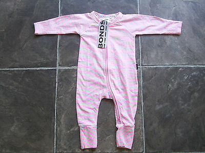 BNWT Baby Girl's Bonds Pink & White Stripes Zip Wondersuit/Coverall Size 000