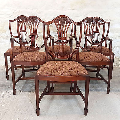Hepplewhite Style Set of 6 Mahogany Dining Chairs & Carvers