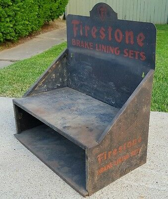 Vtg Firestone Tires Brake Lining Sets Garage Hanging Wall Storage Cabinet Shelf