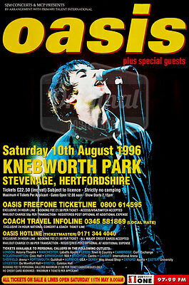 "Original litho-printed Oasis tour poster - Knebworth 60"" x 40"""